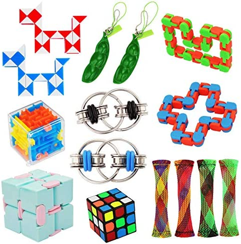 15 Pack Fidget Toy Chain Marble Fidget Keychain Fidget Toys Snake Cube Toys Infinity Cube Toy product image