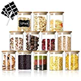 Glass Food Jars Set, 7oz 12 Piece Small Storage Containers Glass Canister Set with Airtight Bamboo Lid and Chalkboard Labels for Home Kitchen, Tea, Herbs, Salt, Sugar, Pasta, Nuts, Coffee (300ML)