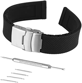 Bewish 20mm 22mm 24mm Silicone Rubber Strap Watch Band Replacement Stainless Steel Deployment Buckle