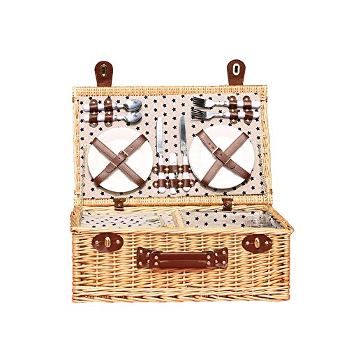 4 Personen Wicker Picknick Korb Korb, Natürliche Willow Picknick Korb Set, Kühler Tasche Picknick & Geschirr