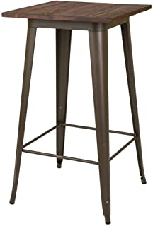 Glitzhome Metal Bar Table Sturdy Frame High Top Bistro Pub Tables