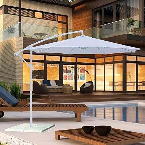 Ombrellone decentrato da Giardino Bianco Diametro 3m (ombrellone Bianco e palo Bianco)