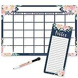 Magnetic Fridge Calendar Dry Erase Magnetic Calendar for Refrigerator - Floral Magnetic Dry Erase Calendar for Fridge, White Board Calendar for Wall, Dry Erase Board Calendar, Magnetic Notepad
