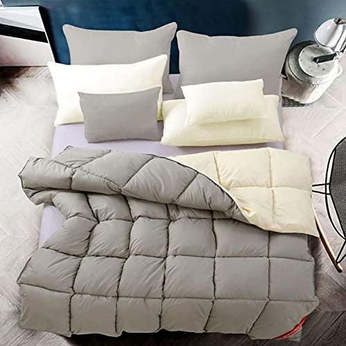 Cactuso Edredones De Verano Cama 180,Abajo Es El Velvet Blanco De Verano Fresco-200x230cm 3000g_Color De Arroz Gris