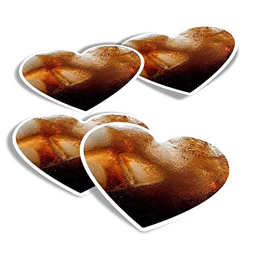 Vinyl Heart Stickers (Set of 4) - Ice Cold Cola Drink Summer Holiday Fun Decals for Laptops,Tablets,Luggage,Scrap Booking,Fridges #16082