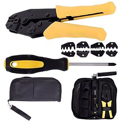 Goplus Crimping Tool Kit Crimper Crimp Pliers Set 0.5-35mm 2 Ratchet 4 Spare Dies w/Oxford Bag