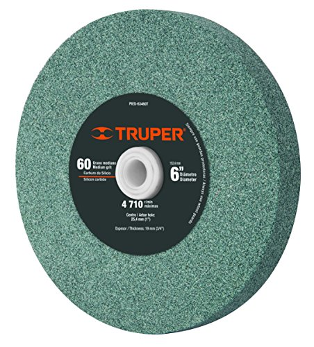 TRUPER PIES-63460T 6' Silicon Carbide Bench Grinding Wheels. Grit=60, Thickness=3/4', Drill=1'. 1 Pack