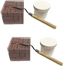 Loneflash 2Sets 48Pcs Materials Miniature Cinder Blocks Mini Cement Bricks and Mortar Let You Build Your Own Tiny Wall Min...