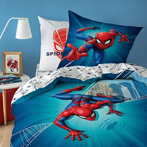 Spiderman Città Lenzuola, 80 x 80 cm + 135 x 200 cm 100% Cotone
