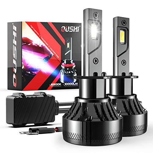 Bombilla H1 LED Coche, OUSHI 110W 2x10000LM 6500K Xenon Blanco 12V Súper Brillante LED Bombillas Faros Delanteros para Coches Kits de Conversión (Paquete de 2)