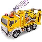 HERSITY Camion Trasportatore Bisarca Giocattolo con Macchine, 1/12 Carroattrezzi Giocattolo con Suoni e Luci Regalo per Bambini 3 4 5 Anni Maschio Femmina