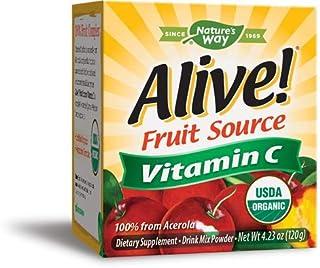 Nature's Way Alive! Vitamin C Powder, USDA Organic, 100% from Acerola, Kiwi, Lycium (Goji) Amla, Vegetarian, 4.23 Ounce, P...