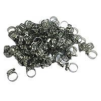Milageto 100ピース/個ホースクランプツールキットステンレス鋼ホースクランプ耐久性のあるシルバー - 銀, -1913-19