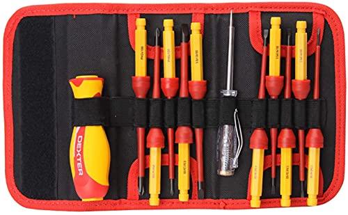 DEXTER - Isolierter Schraubendrehergriff + 10 austauschbare isolierte Klingen + 1 Schraubendreher mit Spannungsprüfer