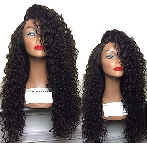 Pelucas de pelo rizado divide lado Pelucas poco rizado largo cubierta del pelo con hebilla red para mujeres negras negro