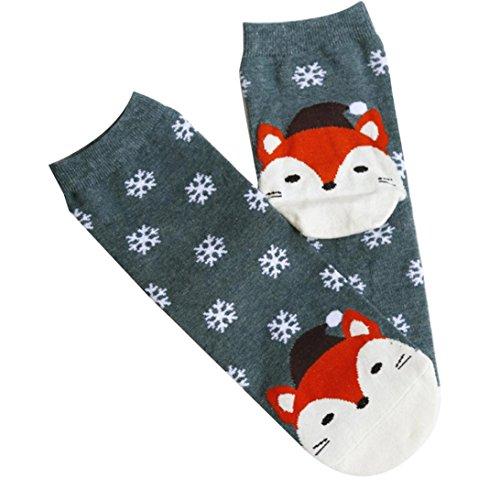 SetMei Weihnachten Cartoon Fuchs Schneeflocken in der System Socken,1Paar (A)