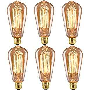 Edison Bulb E27 Squirrel Cage Light Bulb, Licperron ST64 60W 220V Antique Style Glass Dimmable Filament Bulb, 6 PACK