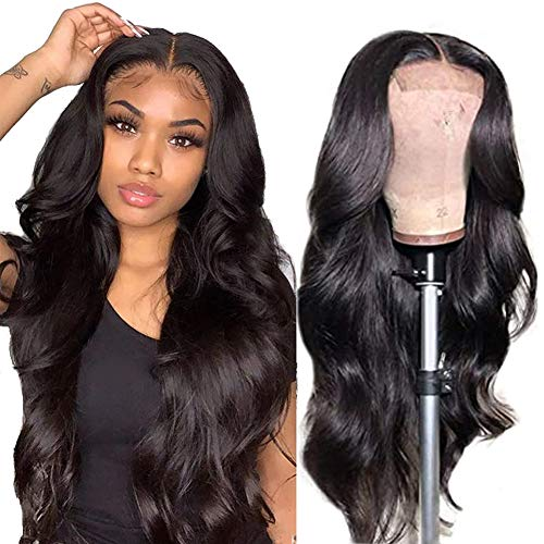 Body Wave Lace Front Wigs Human Hair Pre Plucked Bleached Knots with Baby Hair Glueless 4×4 Brazilian Virgin Lace Closure Human Hair Wigs for Black Women Natural Color 150 Density (18inch, body wave wig)
