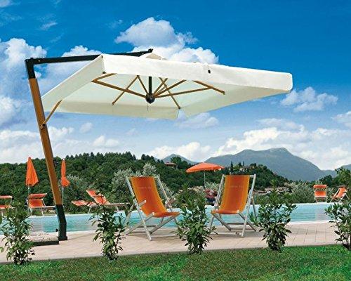 Parasol déporté - Palladio Braccio Carré 3.5x3.5m Acrylique Dralon 350g/m2 Terracotta A2 Avec volants