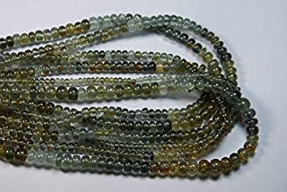 Jewel Beads Natural Beautiful jewellery 15 Inch,5-4mm,SUPERB-FINEST-AAA Quality,Full Strand,Shaded Moss Aquamarine Smooth Polished RondellsCode:- JBB-39762