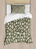 ABAKUHAUS Comida Rápida Funda Nórdica, Dibujado A Mano Patrón De Alimentos, 1 Funda para Almohada Set Decorativo de 2 Piezas, 264 x 220 cm, Ejército Verde Pálido Verde Salvia