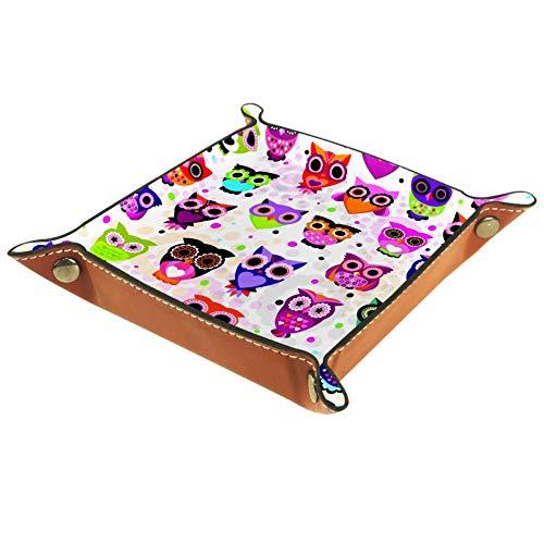 AMEILI Lila Cartoon-Eule, dekoratives Schmucktablett zur Aufbewahrung von Würfeln, Organizer aus PU-Leder für Münzen, Schlüssel, Geldbörse, Reisen