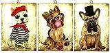 KUSTOM ART Juego de 3 cuadros estilo vintage serie animales Perros de colección impresión sobre madera moldeada con láser Made in Italy – Idea regalo (grupo 15)