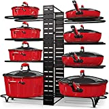 Pot and Pan Organizer for Cabinet, Adjustable 8 Non-Slip Tiers Pot Organizer Rack with 3 DIY Methods, Kitchen Under Cabinet Organizer Rack for Pots and Pans, Black Steel Cookware Organizer