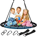 LByzHan 40 Inch Saucer Tree Swing, 750lb Weight Capacity 360 Rotate° Spider Net Swing...