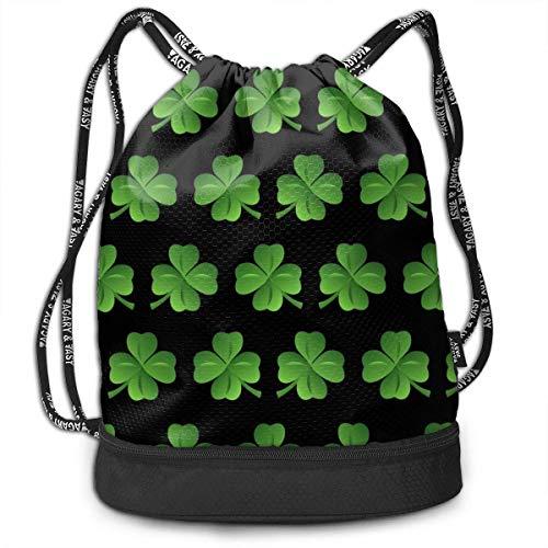 PmseK Rucksack Bedruckt mit Kordelzug, Clover Drawstring Bags Sack Pack Cinch Storage Bag for Traveling Hiking