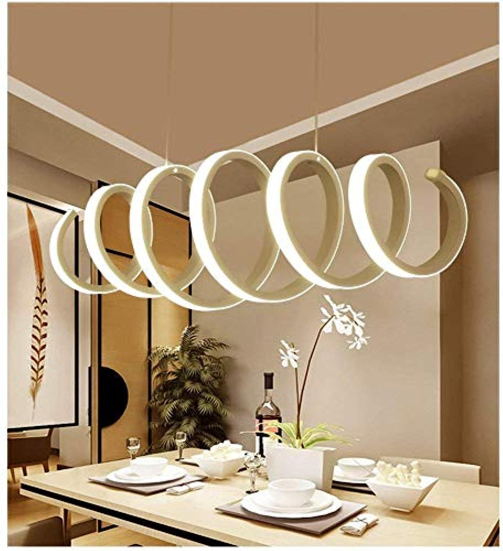 Xiao Fan  Pendelleuchte LED Moderne Dimmbare Spirale Wohnzimmer Montage, Einstellbare Hngende Metall Acryl Wei Kronleuchter Lampe Deckenleuchte für Küche, 70 cm