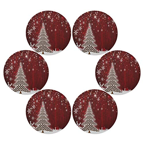 senya Christmas Tree Round Placemats Set of 6 for Dining Table Heat Insulation Non-Slip Washable Place mats