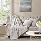 SHALALA Reversible Faux Fur Throw Blanket, Super Soft Fluffy SherpaBlanket for Sofa, Chair, Couch, Living Room, Bedroom and Home Decor(Crushed Stone, 50''x60''Blankets + Pillow)