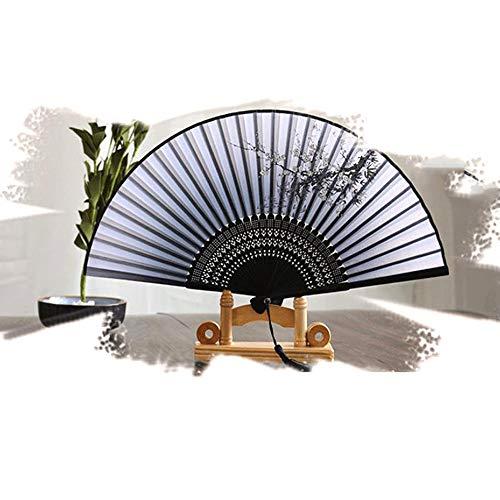 Xinlie Abanicos de Mano Ventiladores de Bambú Abanico Plegable de Seda Abanico Plegable de Mano Ventilador de Tela Abanico Japonés Ventilador de Boda Decoración Regalo Regalo Día de la Madre
