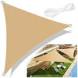 Emooqi Toldo Vela de Sombra, Vela de Sombra Triangular (HDPE) 3×3×3m Protección UV para Terraza Camping Jardín al Aire Libre, Color Arena