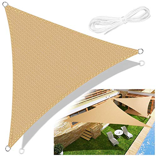 Emooqi Sonnensegel, Sonnensegel Dreieck 3x3x3 Inkl Befestigungsseile, Hdpe Sonnensegel Terrasse Für Uv Schutz