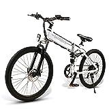JINGJIN Bicicleta Eléctrica Plegable de motorreductor sin escobillas 48V 10Ah, Batería Extraíble para Adultos, Velocidad Máxima de Viaje de 35 km/h, Kilometraje en Modo Pas 40-80 km/h,White-A