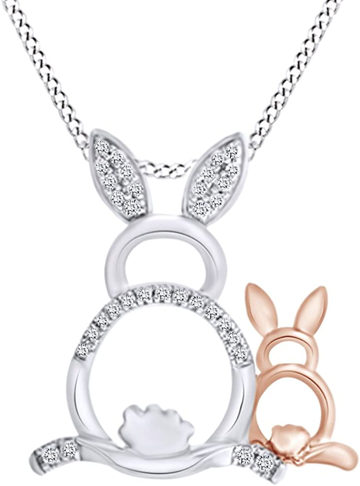 Round Shape 1 Max 44% OFF 10 Cttw White Diamond Necklac Pendant Nashville-Davidson Mall Easter Bunny