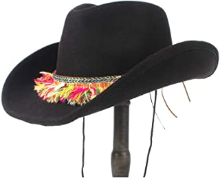 JAUROUXIYUJI New Women Wool Hollow Western Cowboy Hat Roll-up Brim Lady Cowgirl Jazz Sombrero Cap with Tassel Ribbon (Color : Black, Size : 56-59cm)