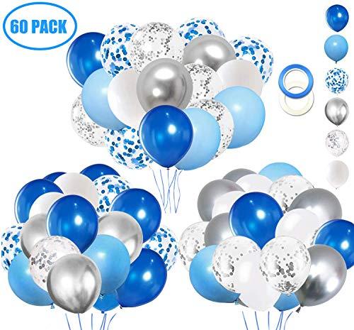 tarumedo 62 Stück Blaue Luftballons Set, Latex Helium Luftballons Blau Weiß Silber Konfetti Luftballons Dekoration Geburtstagsballons Blaue Ballons für Hochzeit Geburtstag Taufe Baby Party Deko (Blau)