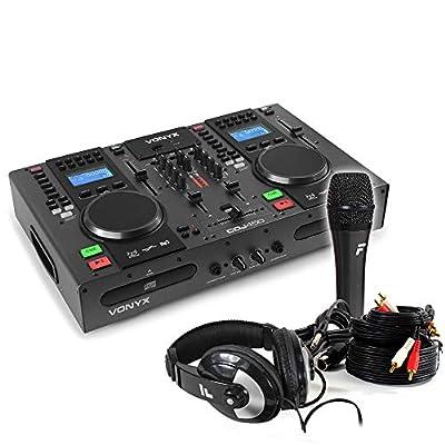 VONYX Dual Twin CD USB Player DJ Desk Mixer with Bluetooth Jog Wheels & Microphone Set
