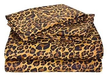 SGI bedding 600 Thread Count Super Soft Cotton King Size Bed Sheets Leopard Print