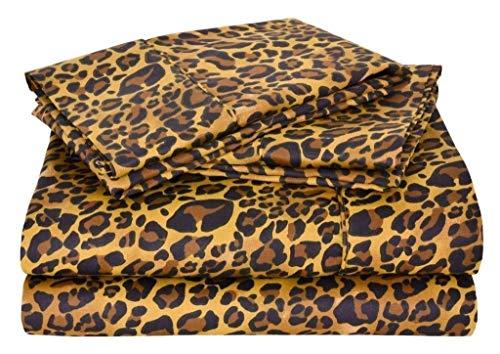 SGI bedding 600 Thread Count Super Soft Cotton Short King Size Bed Sheets Leopard Print