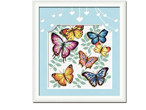 Cross Stitch Kit, Colorful Butterflies Waterfall 40x40cm. DIY Needlework Handmade Embroidery Home Room Decor