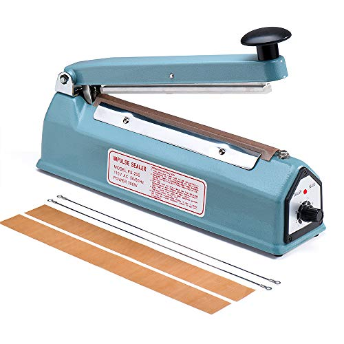 Metronic 8 inch Impulse Bag Sealer Poly Bag Heat Sealer Sealing Machine Heat Seal Closer with Repair Kit