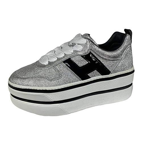 Hogan E47 Sneakers Donna H449 Maxi Silver metallic Effect Leather Shoes Women [39]