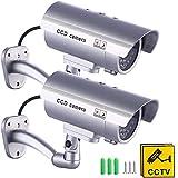 2 X Camaras Falsas de Seguridad   Cámara de Vigilancia CCTV Simulada para Uso en Interiores o Exteriores con luz LED Intermitente