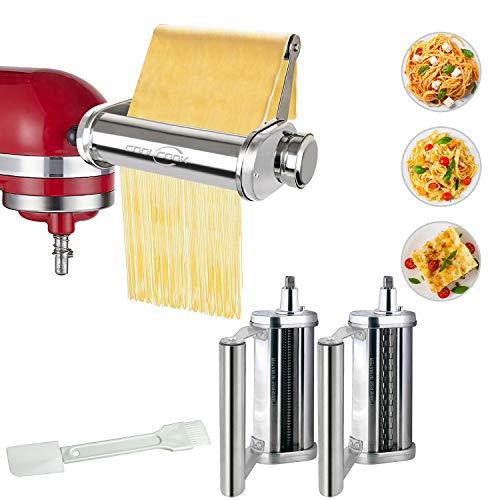 Nudelvorsatz für KitchenAid Küchenmaschine, Edelstahl Nudelvorsatz mit Nudelregal, Nudelblattroller Spaghettischneider Fettuccineschneider COOLCOOK 3-in-1 Nudelroller Aufsatz für KitchenAid