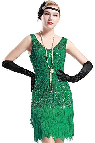 BABEYOND Damen Retro 1920er Stil Flapper Kleider mit Zwei Schichten Troddel V Ausschnitt Great Gatsby Motto Party Kostüm Kleider- Gr. L (Fits 82-92 cm Waist & 100-110 cm Hips), Grün