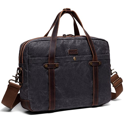 Messenger Bag, VASCHY Water Resistant Waxed Canvas 15.6 Inch Laptop Bag Vintage Briefcase for Men (Grey)